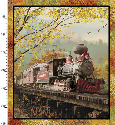 Autumn Steam - Large Train Panel - Licence To Quilt