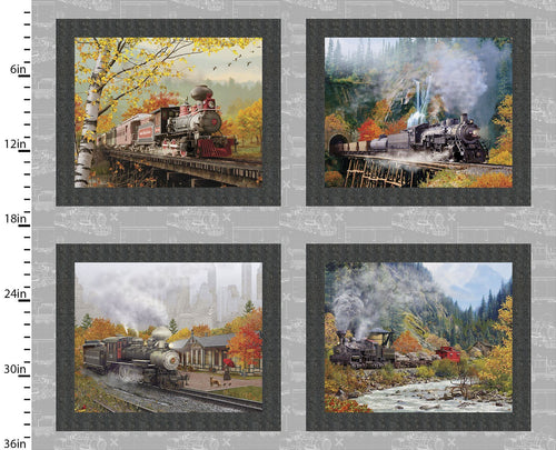 Autumn Steam - Small Train Panel - Licence To Quilt