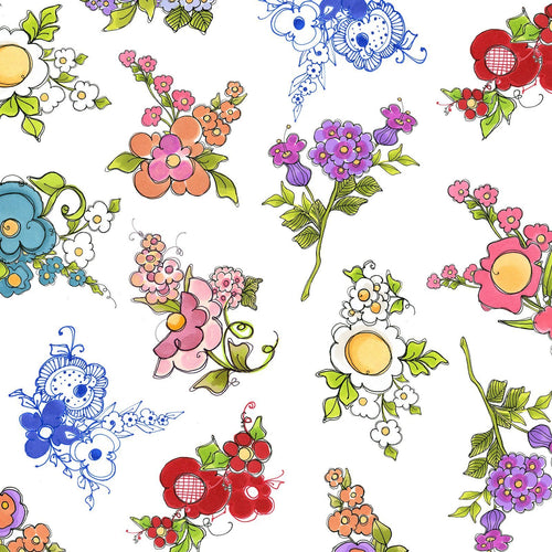 Joy Journey - Mixed Bouquets White Fabric - Licence To Quilt