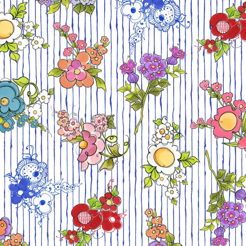 Joy Journey - Mixed Bouquets Blue Fabric - Licence To Quilt