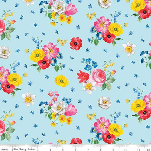 Afternoon Picnic - Floral Blue - Licence To Quilt