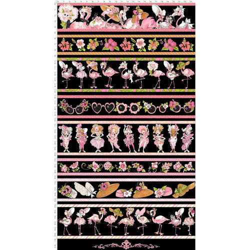 Flamingo Fancy - Flams Border Black - Panel - Licence To Quilt