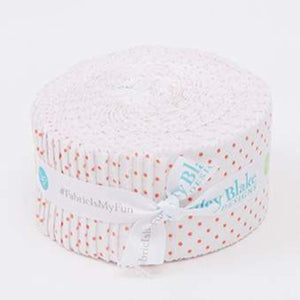 "Swiss Dot On White Coral 2 1/2"" Rolie Polie - Licence To Quilt"