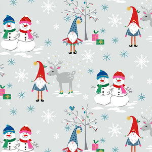 Gnome To Fa La La - Snow Village Gray - Licence To Quilt