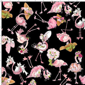 Flamingo Fancy - Tosses Flams Black - Licence To Quilt