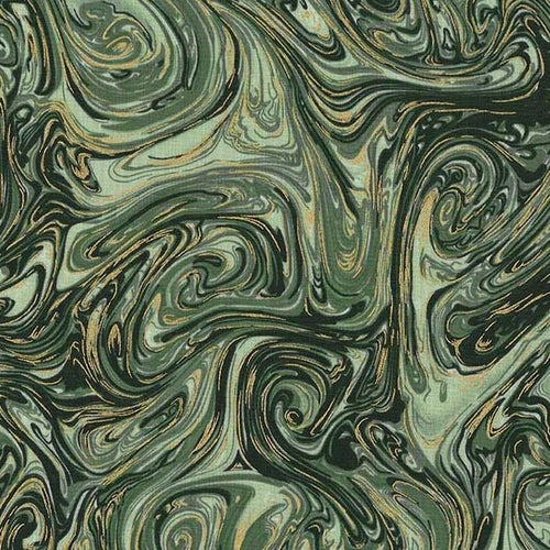 Marble and Stardust Metallic - Basil - Licence To Quilt
