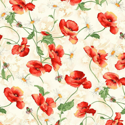 Blooms Of Beauty - Poppy Spray - Licence To Quilt