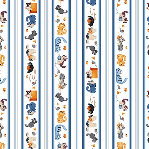 Feline Friends - Alley Cats Blue - Licence To Quilt