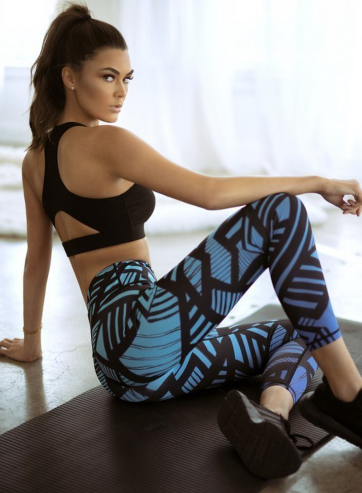 Blue Crossover Leggings