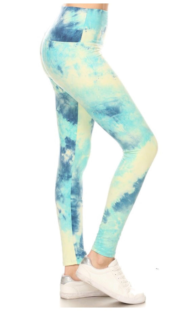 EcoSoft Blue Sky Tie Dye Leggings