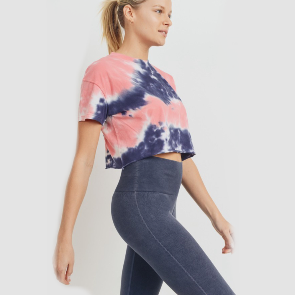 Navy & Peach Tie Dye Crop Top