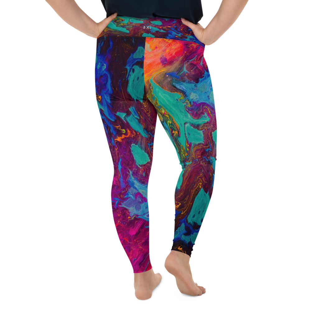Coral Marble Plus Size Leggings