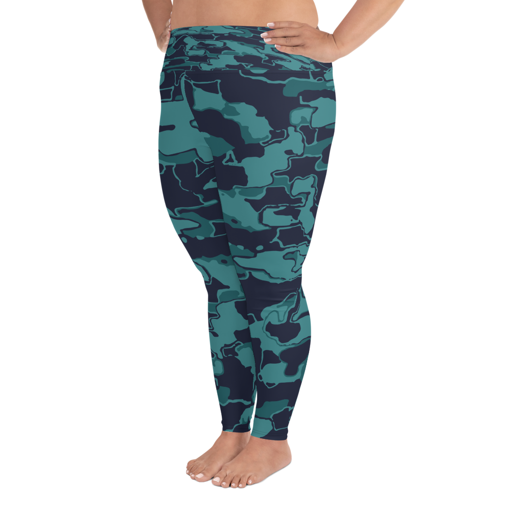 Blue Camo Plus Size Leggings