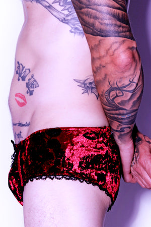 rose velvet mens panties made in los angeles