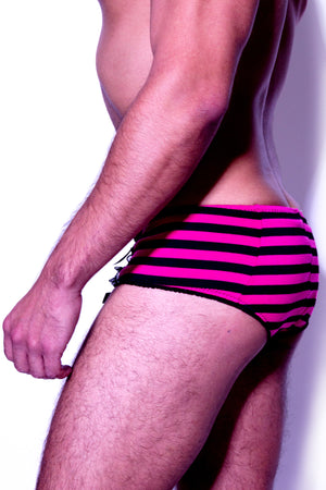 Black and Pink Striped Brief