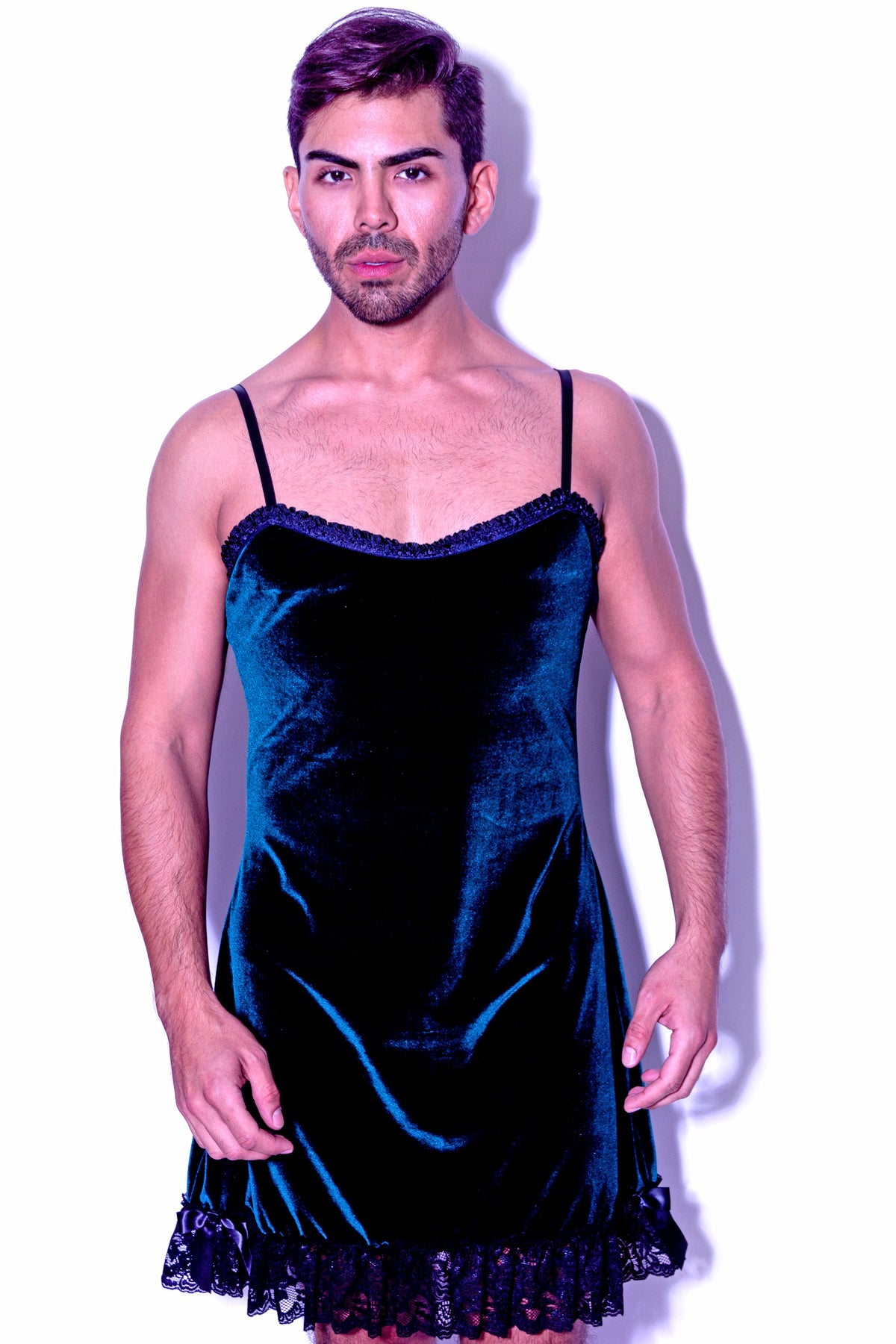 5a54b9d43d37 Fatale Dresses and panties for men. Velvet mens slip dress, made in Los  Angeles