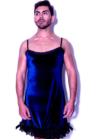 Fatale Dresses and panties for men. Velvet mens slip dress, made in Los Angeles.
