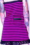 Black and Pink Striped Slip Dress