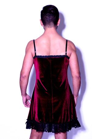 Burgundy Velvet Slip Dress