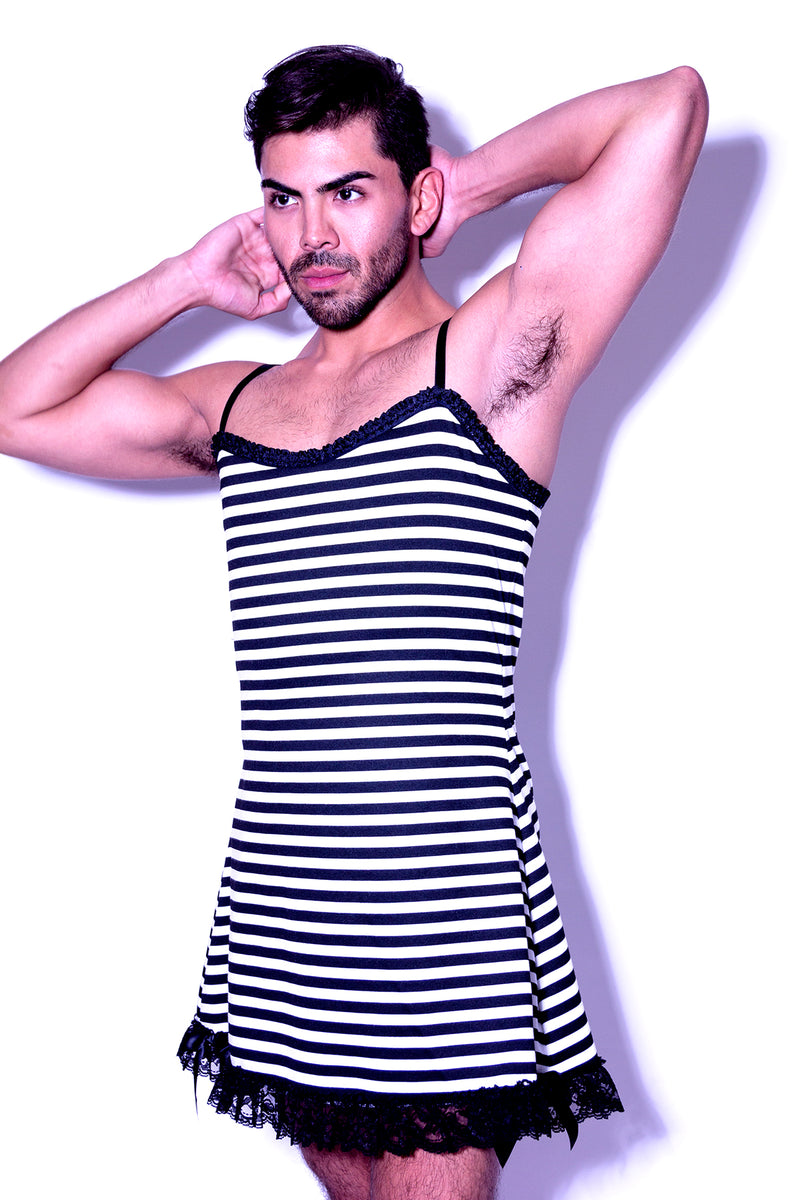 Fatale Dresses and panties for men. Striped mens slip dress, made in Los Angeles.