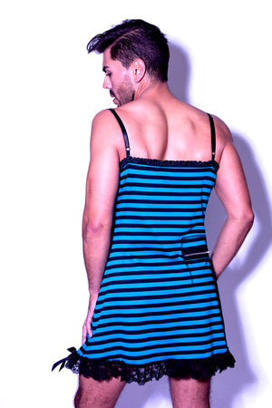 Fatale Dresses and panties for men. Blue and black striped mens slip dress, made in Los Angeles.