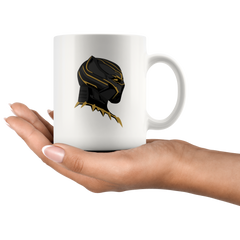 Black Panther Gold Mask White 11 oz Mug