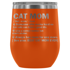 Cat Mom Stemless Wine Tumbler