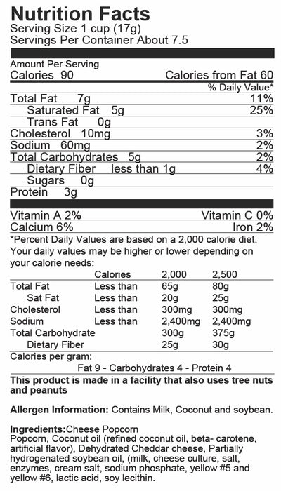 Just Poppin Popcorn - Pleasy Cheesy Popcorn Nutrition Label