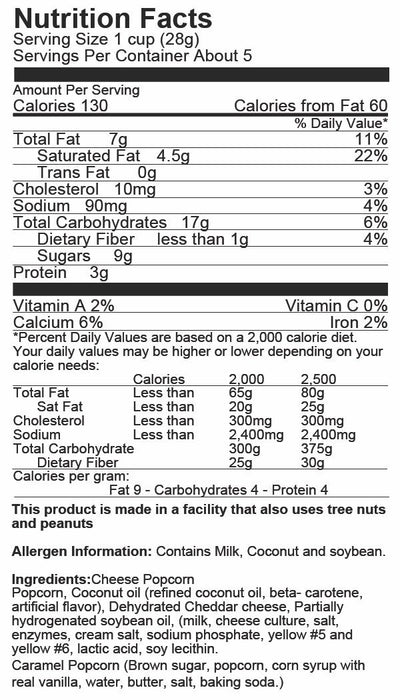 Just Poppin Popcorn - Crazy Pleasy Mix Popcorn Nutritional Label