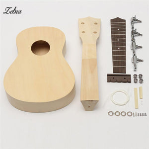 Zebra 21''  DIY Unassembled Ukulele Rosewood Fretboard Guitar Uke Soprano Hawaii Ukulele Guitarra Kit For Musical Instruments - Ukulele Koa