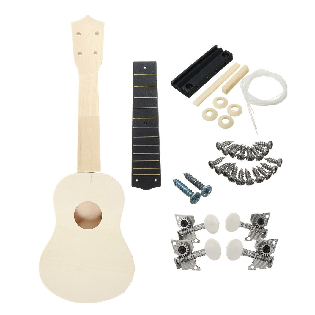 21 Inch Unassembled Wooden Ukulele Guitar Uke Kit With Musical Accessories for Guitar DIY for beginners or Basic players - Ukulele Koa