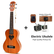 Rosewood Fingerboard Ukulele 23 4 Aquila Strings 17 Fret Hawaiian ukelele Acoustic guitar Heart pattern Stringed Instruments