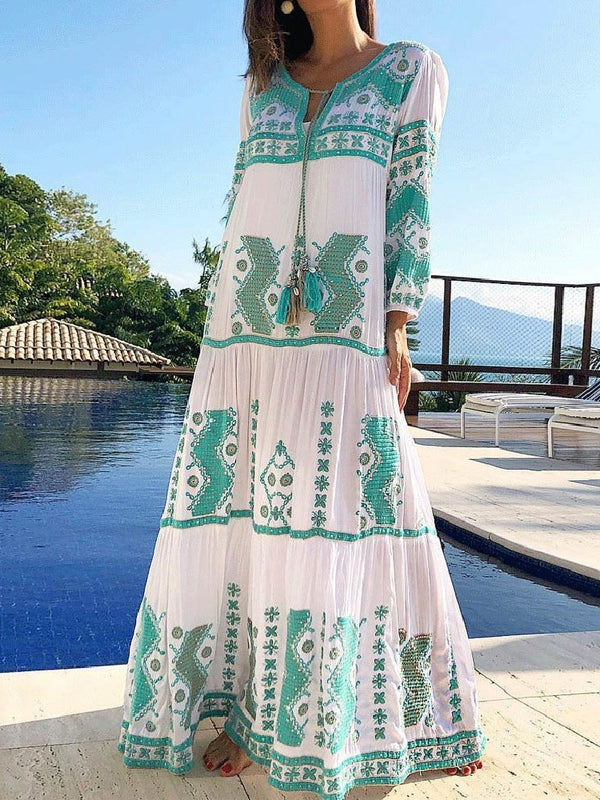 Nine Points Sleeve Floor-Length Lace-Up Fashion Summer Dress
