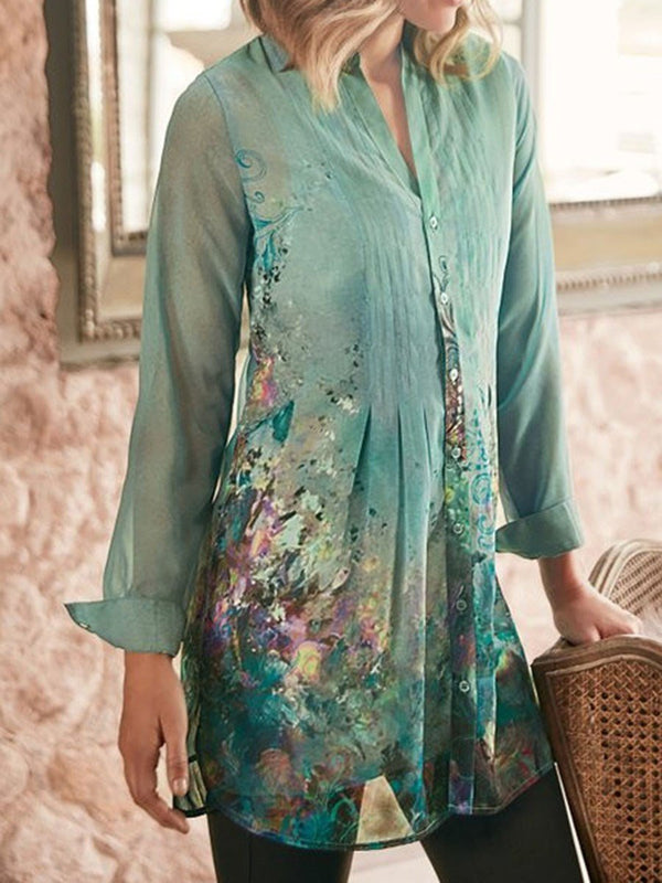 Regular Print Long Sleeve Mid-Length Blouse