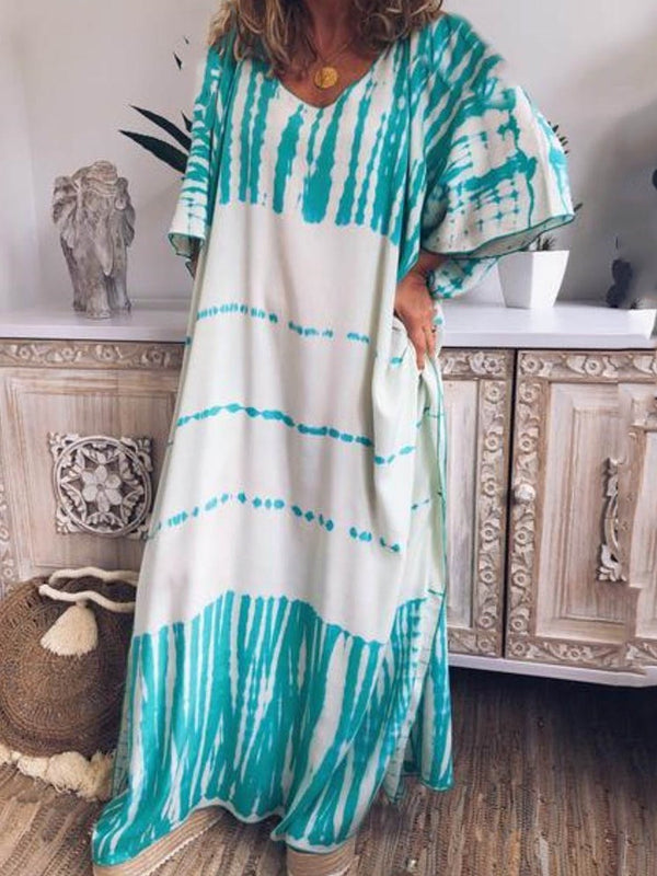 Half Sleeve Floor-Length Print Casual Pullover Dress