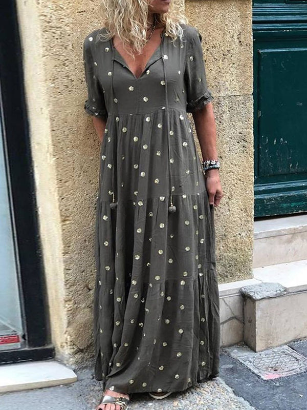 Lace-Up Half Sleeve Floor-Length Polka Dots Summer Dress