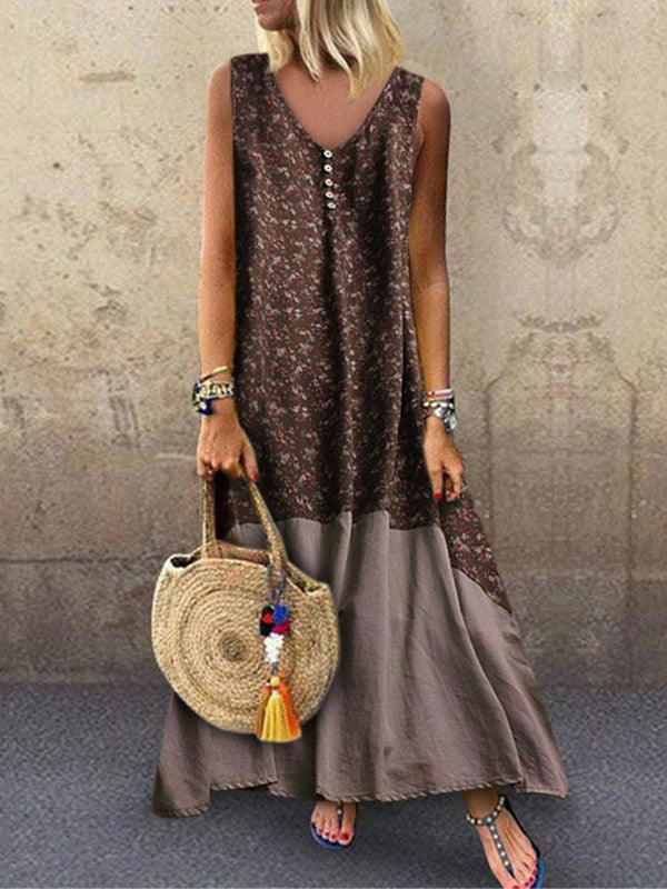 Ankle-Length Sleeveless V-Neck Pullover Summer Dress