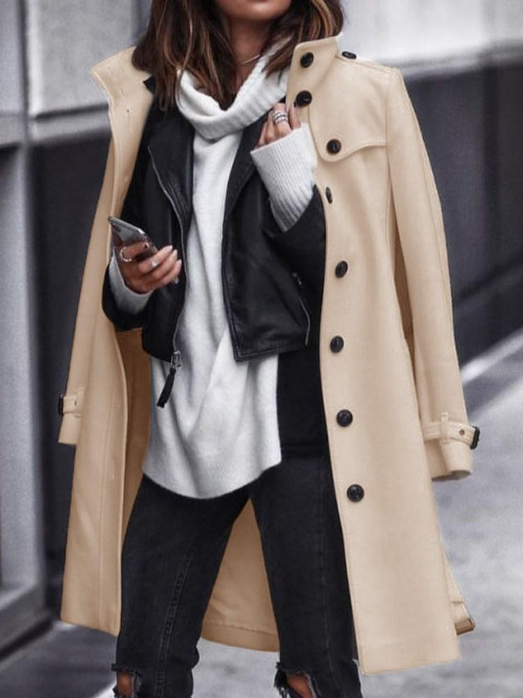 Single-Breasted Loose Mid-Length Lapel Overcoat