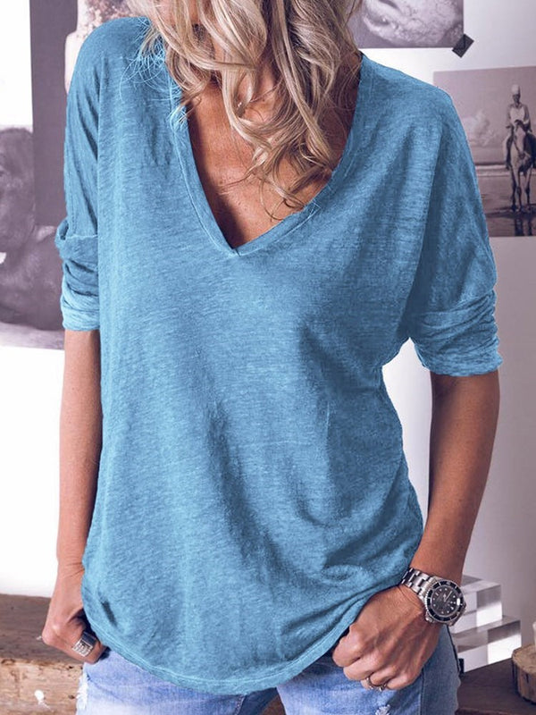 Mid-Length Plain V-Neck Loose Casual T-Shirt