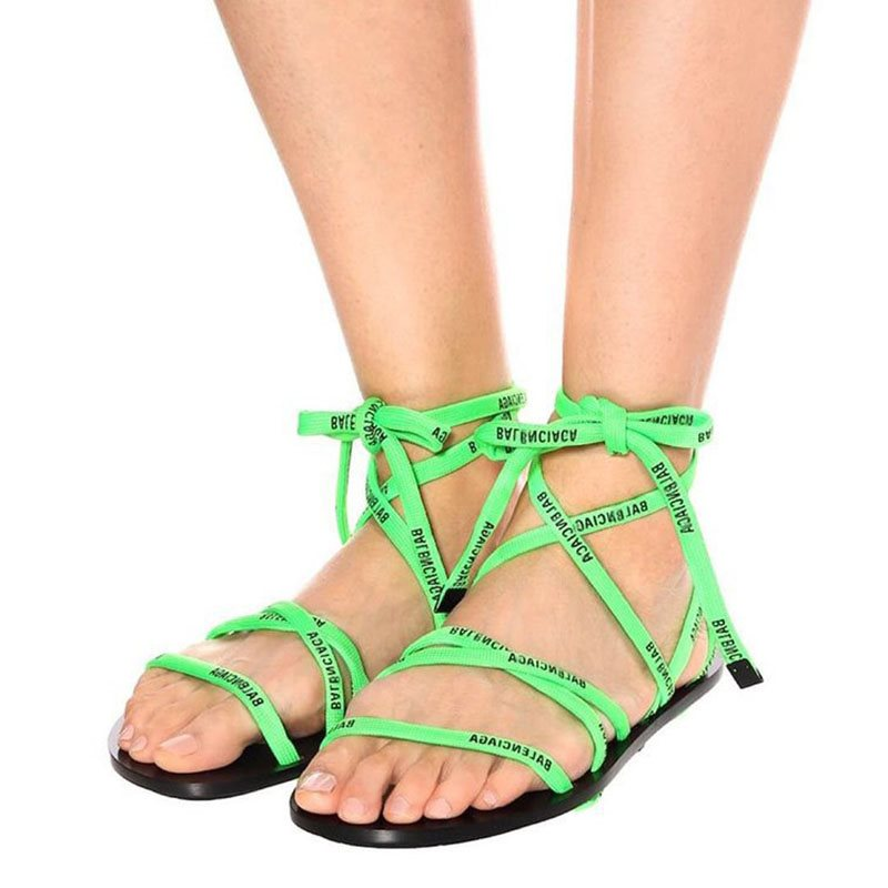 Ankle Strap Open Toe Lace-Up Letter Casual Sandals