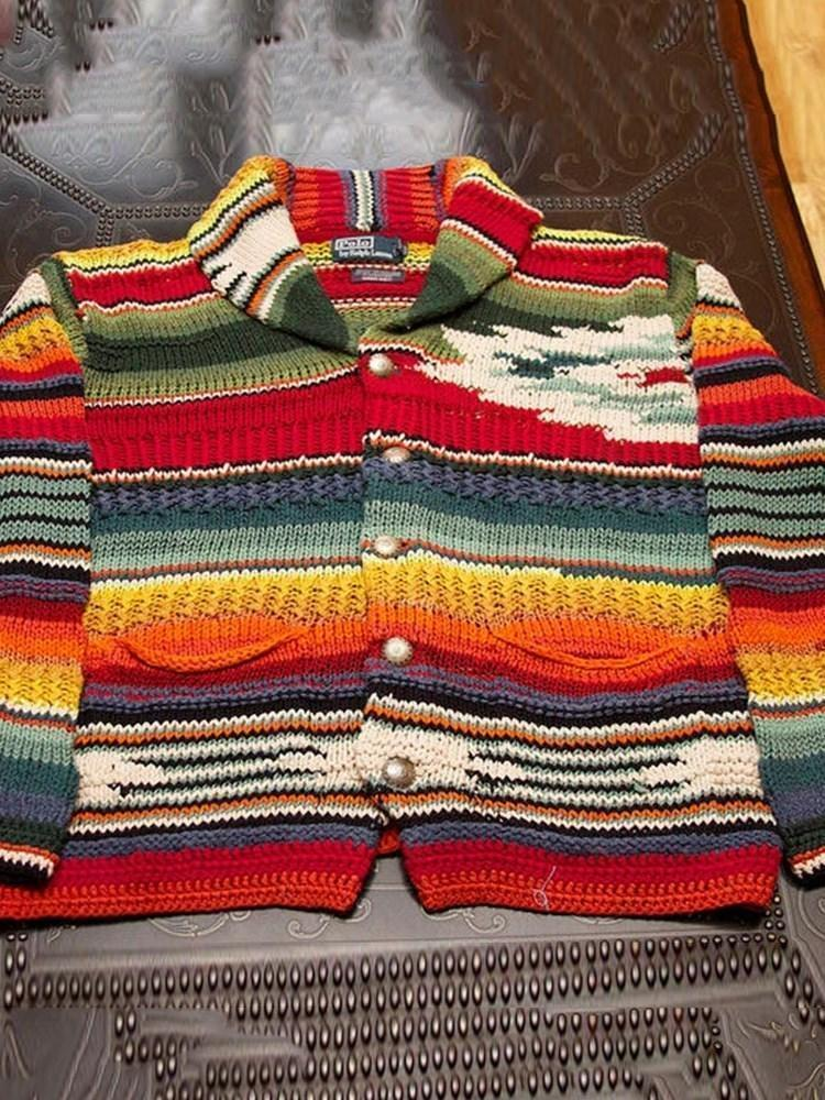Standard Color Block Button Casual Fall Sweater