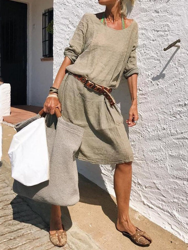 Three-Quarter Sleeve Knee-Length Off Shoulder Pullover Casual Dress