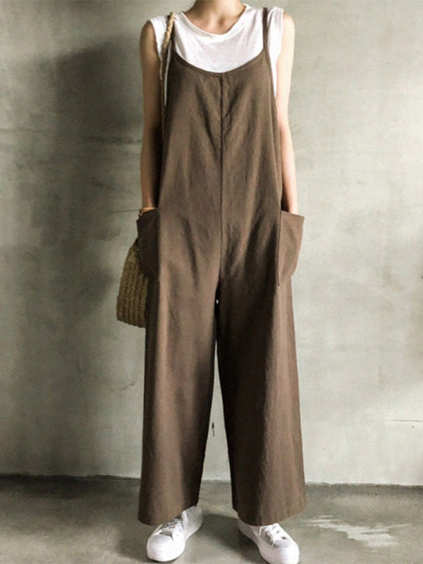 Full Length Plain Casual Loose Straight Jumpsuit