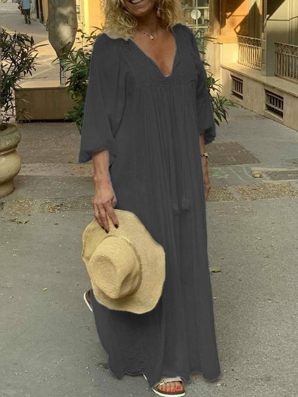 Three-Quarter Sleeve V-Neck Floor-Length Travel Look A-Line Dress