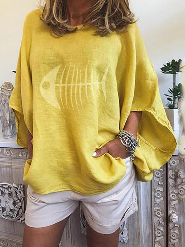 Print Round Neck Flare Sleeve Mid-Length Long Sleeve Blouse
