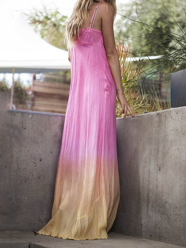 Floor-Length Sleeveless Gradient A-Line Dress