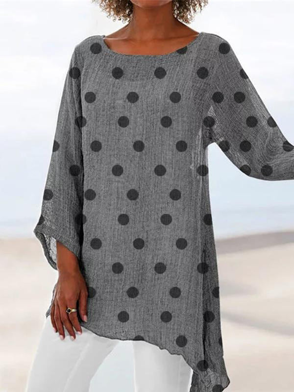 Nine Points Sleeve Polka Dots Round Neck Casual Straight T-Shirt