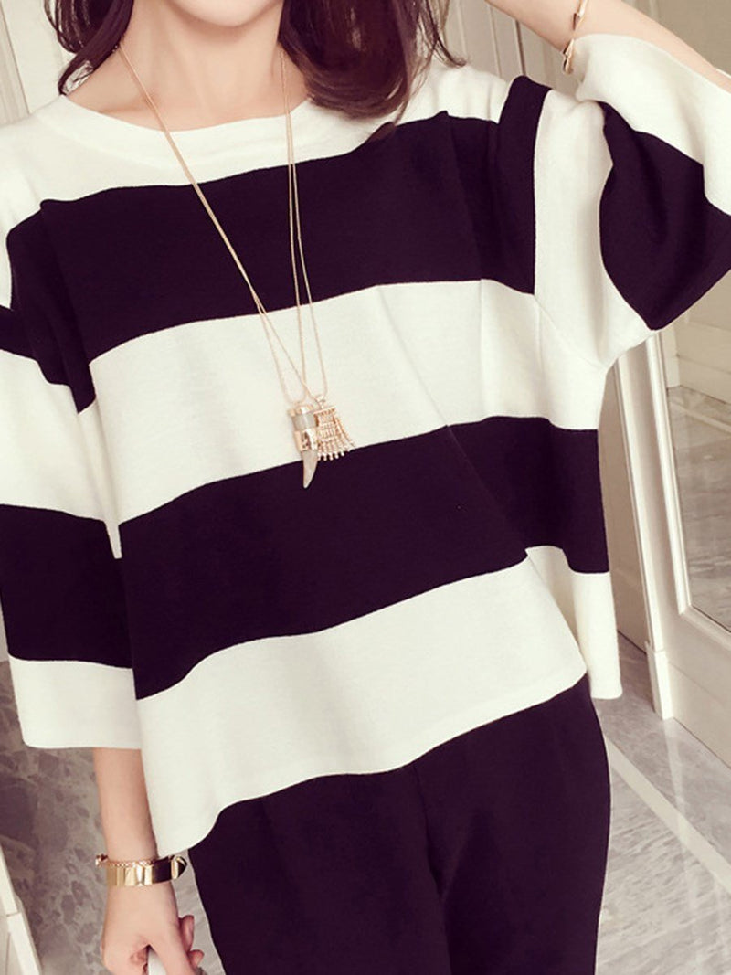 Half Sleeve Standard Stripe Summer Loose T-Shirt