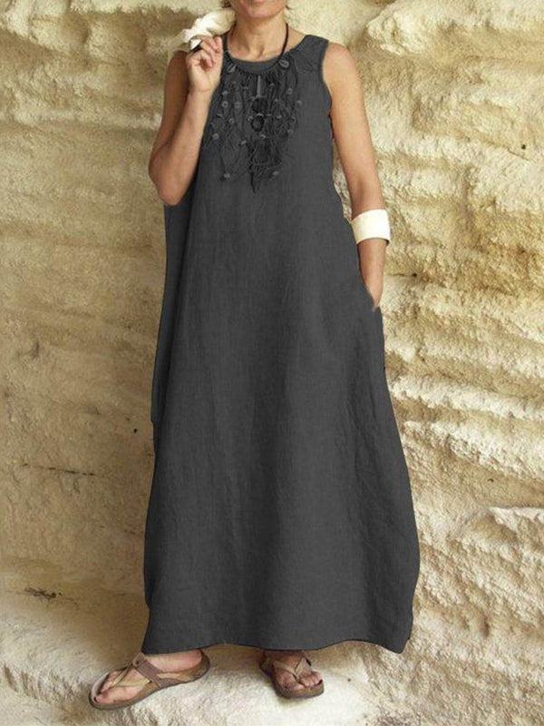 Sleeveless Ankle-Length Plain Travel Look Dress