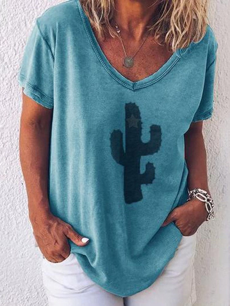 Plant Short Sleeve V-Neck Loose Casual T-Shirt